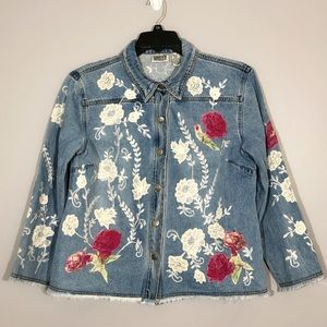 Chico's Floral Embroidery Flared Denim Jean Jacket